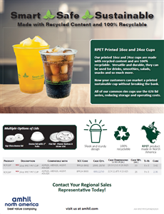 Post Consumer Recycled PET (RPET) and Recyclable Cups by Amhil