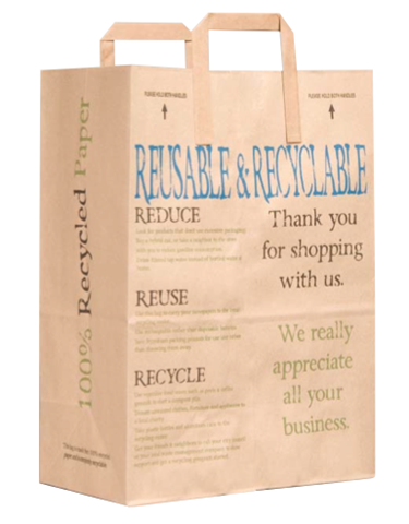 100% Recycled Paper Handle Bag by Duro Bag