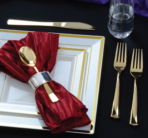 Golden Secrets Disposable Gold Cutlery by Fineline Settings