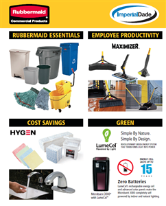2019 Rubbermaid Catalog with items stocked at Imperial Dade highlighted
