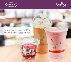 Recycled PET RPET Bare Clear Cold Cups with Minimum 20% Post-Consumer Recycled Content by Dart Container