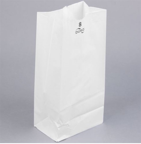 8 lb White Grocery Bag Template by Duro Bag