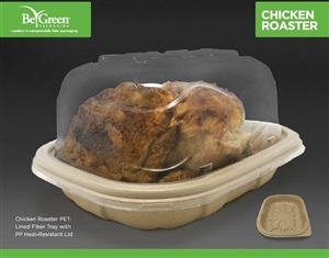 Eco friendly Pulp fiber takeout chicken roaster containers with dome lids by BeGreen Packaging